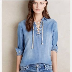 Anthropologie Denim Lace Up Shirt Sz X-Small